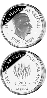 200 krona 100th anniversary of the birth of Dag Hammarskjöld - 2005 - Series: Silver coins - Sweden