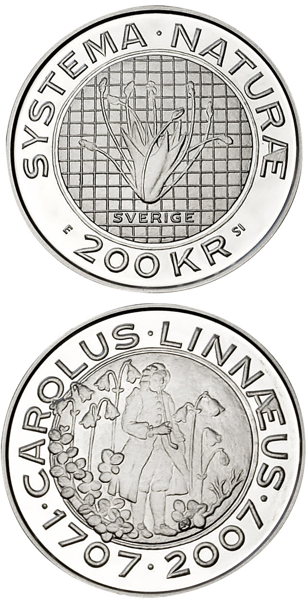 Image of 200 krona coin – Carl von Linné 300 years | Sweden 2007.  The Silver coin is of Proof quality.