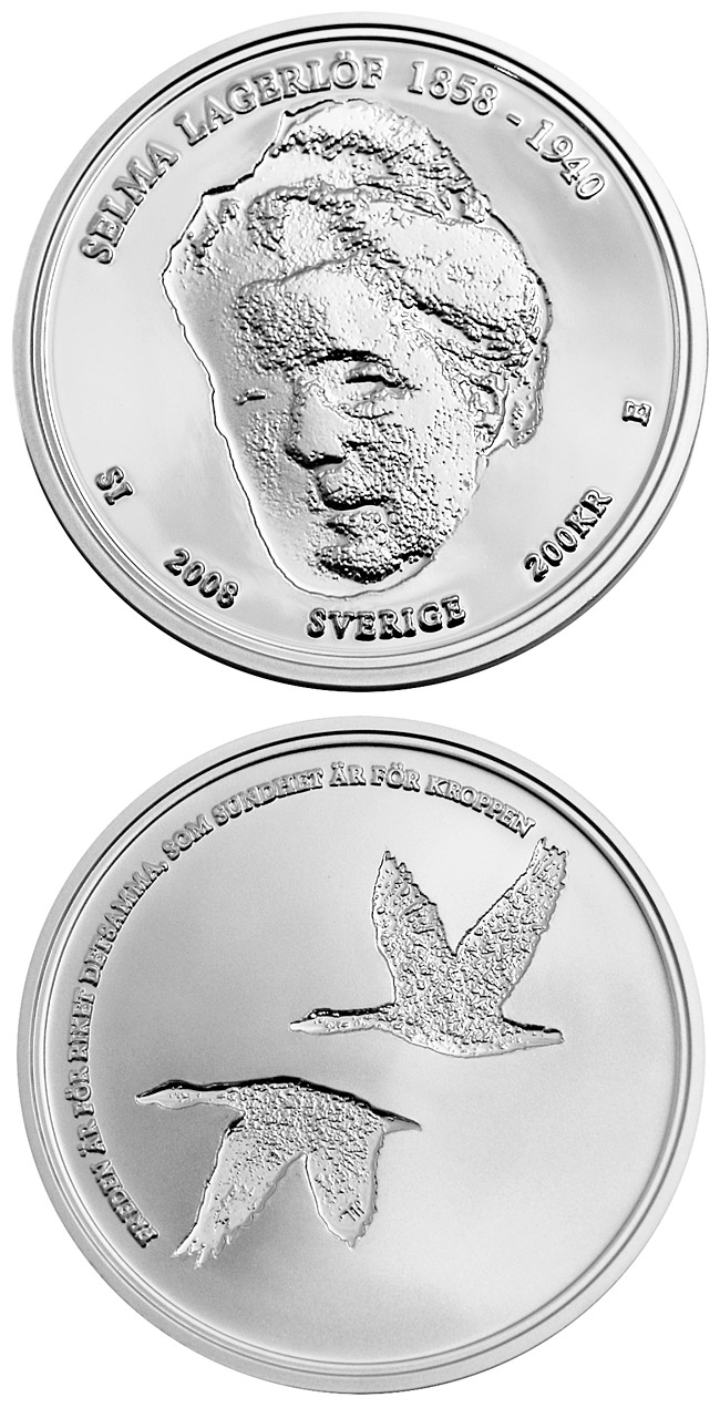 Image of 200 krona coin - Selma Lagerlöf 150 years | Sweden 2008.  The Silver coin is of Proof quality.