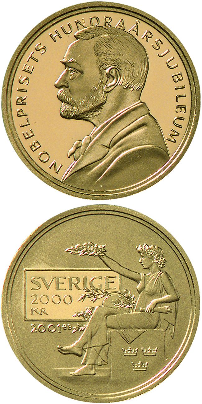 Image of 2000 krona coin 100th anniversary of the foundation of the Nobel prize | Sweden 2001.  The Gold coin is of Proof quality.