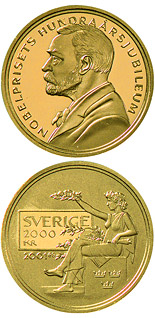 2000 krona coin 100th anniversary of the foundation of the Nobel prize | Sweden 2001