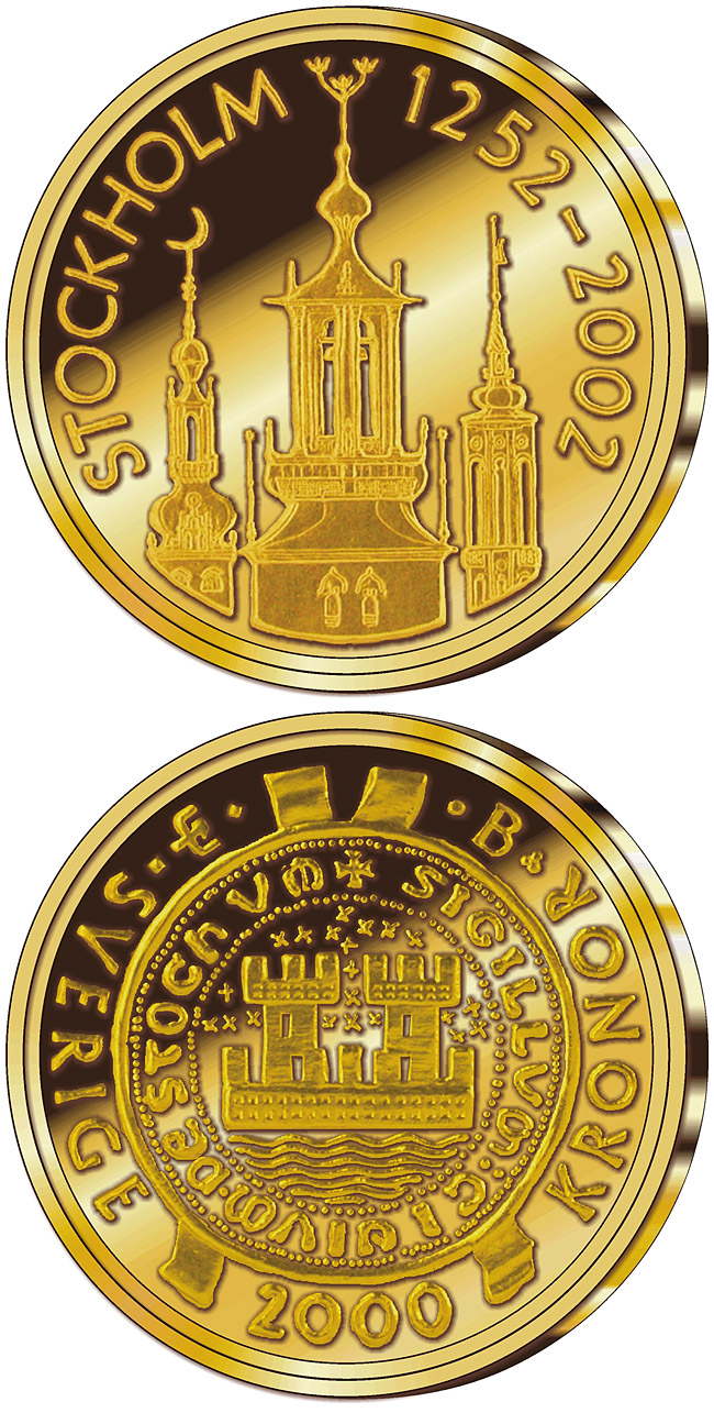 Image of 2000 krona coin – Stockholm 750th anniversary | Sweden 2002.  The Gold coin is of Proof quality.