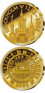 2000 krona coin Stockholm 750th anniversary | Sweden 2002