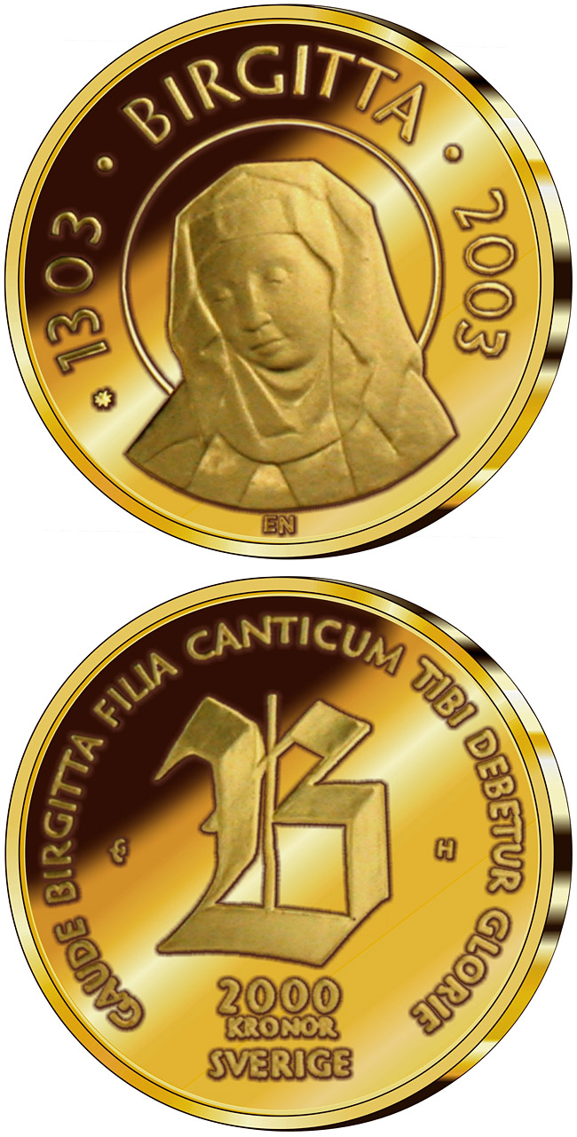 Image of 2000 krona coin 700th anniversary of the birth of Saint Birgitta | Sweden 2003.  The Gold coin is of Proof quality.