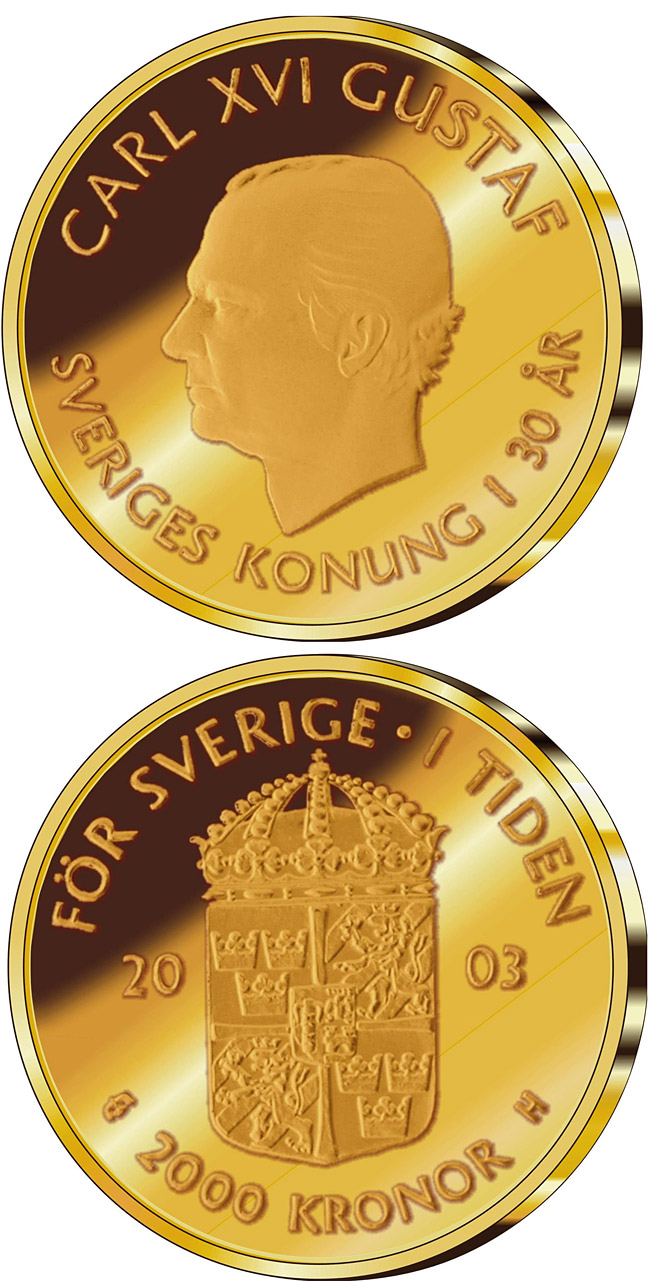 Image of a coin 2000 kronor | Sweden | 30th anniversary of King Carl XVI Gustaf's accession to the throne | 2003