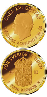 2000 krona coin 30th anniversary of King Carl XVI Gustaf's accession to the throne | Sweden 2003