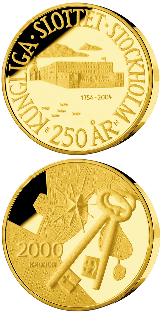Image of 2000 krona coin – 250th anniversary of Royal Palace in Stockholm | Sweden 2004.  The Gold coin is of Proof quality.