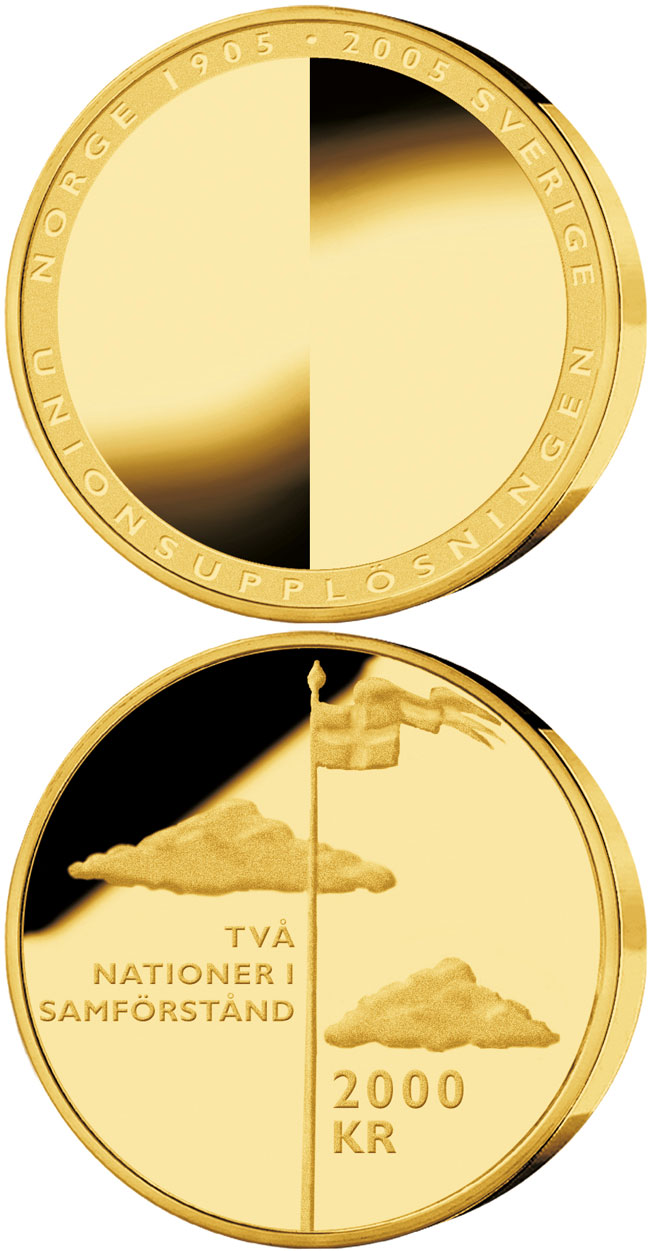 Image of 2000 krona coin – 100th anniversary of the dissolution of the Swedish-Norwegian union | Sweden 2005.  The Gold coin is of Proof quality.