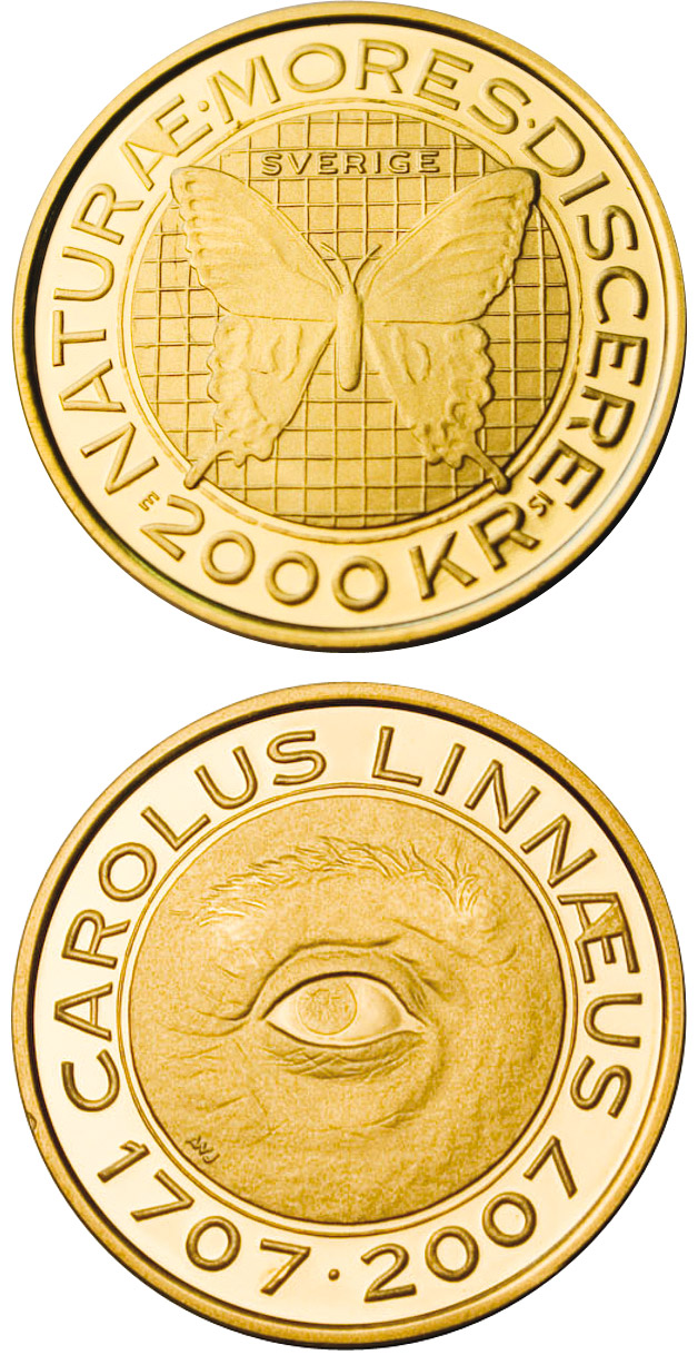 Image of 2000 krona coin - Carl von Linné 300 years | Sweden 2007.  The Gold coin is of Proof quality.