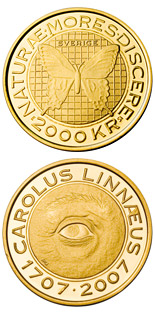 2000 krona coin Carl von Linné 300 years | Sweden 2007