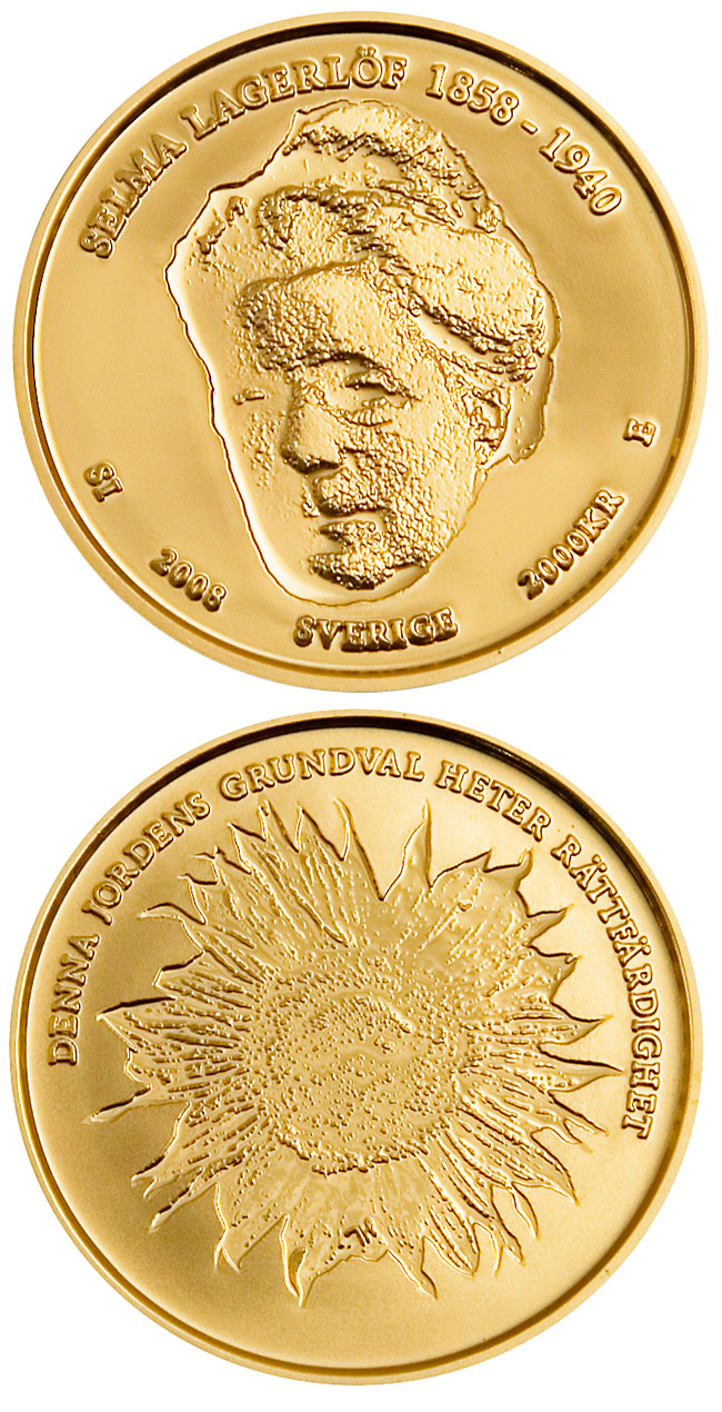 Image of 2000 krona coin - Selma Lagerlöf 150 years | Sweden 2008.  The Gold coin is of Proof quality.