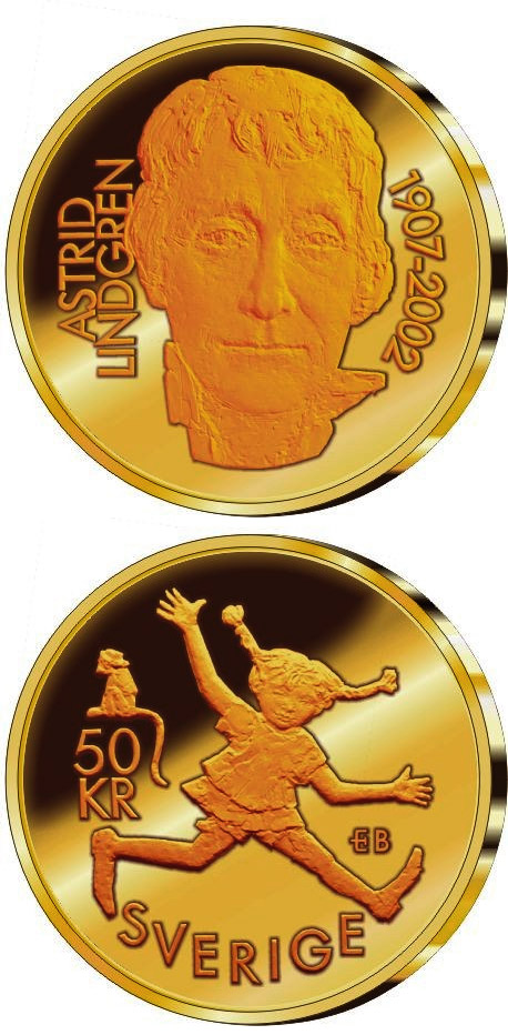 Image of 95th anniversary of the birth of Astrid Lindgren – 50 krona coin Sweden 2002.  The Bimetal: CuNi, nordic gold coin is of Proof quality.