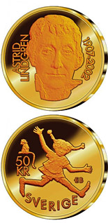 50 krona coin 95th anniversary of the birth of Astrid Lindgren | Sweden 2002