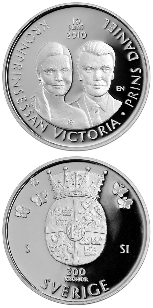 Image of 300 krona coin – The wedding of Crown Princess Victoria and Daniel Westling on 19 June 2010 | Sweden 2010.  The Silver coin is of Proof quality.
