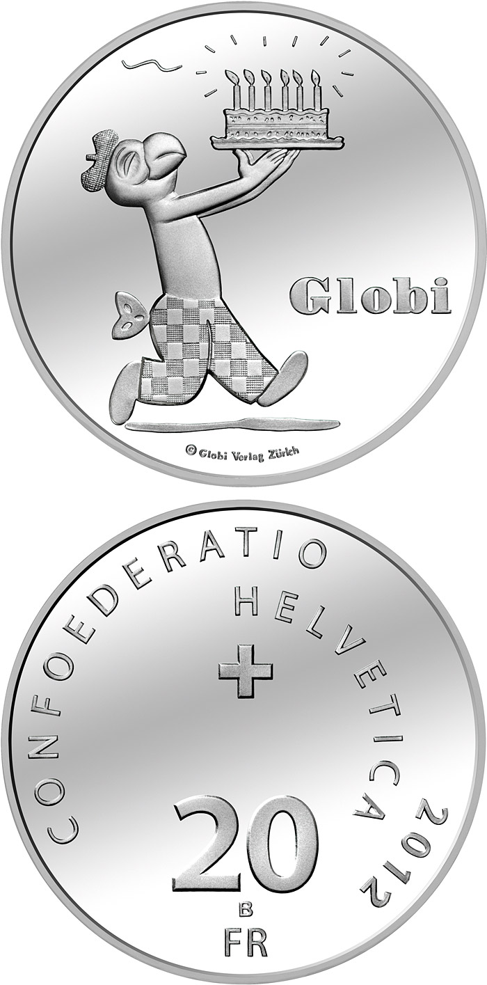 Image of 20 francs coin - The 80 years of Globi | Switzerland 2012.  The Silver coin is of Proof, BU quality.