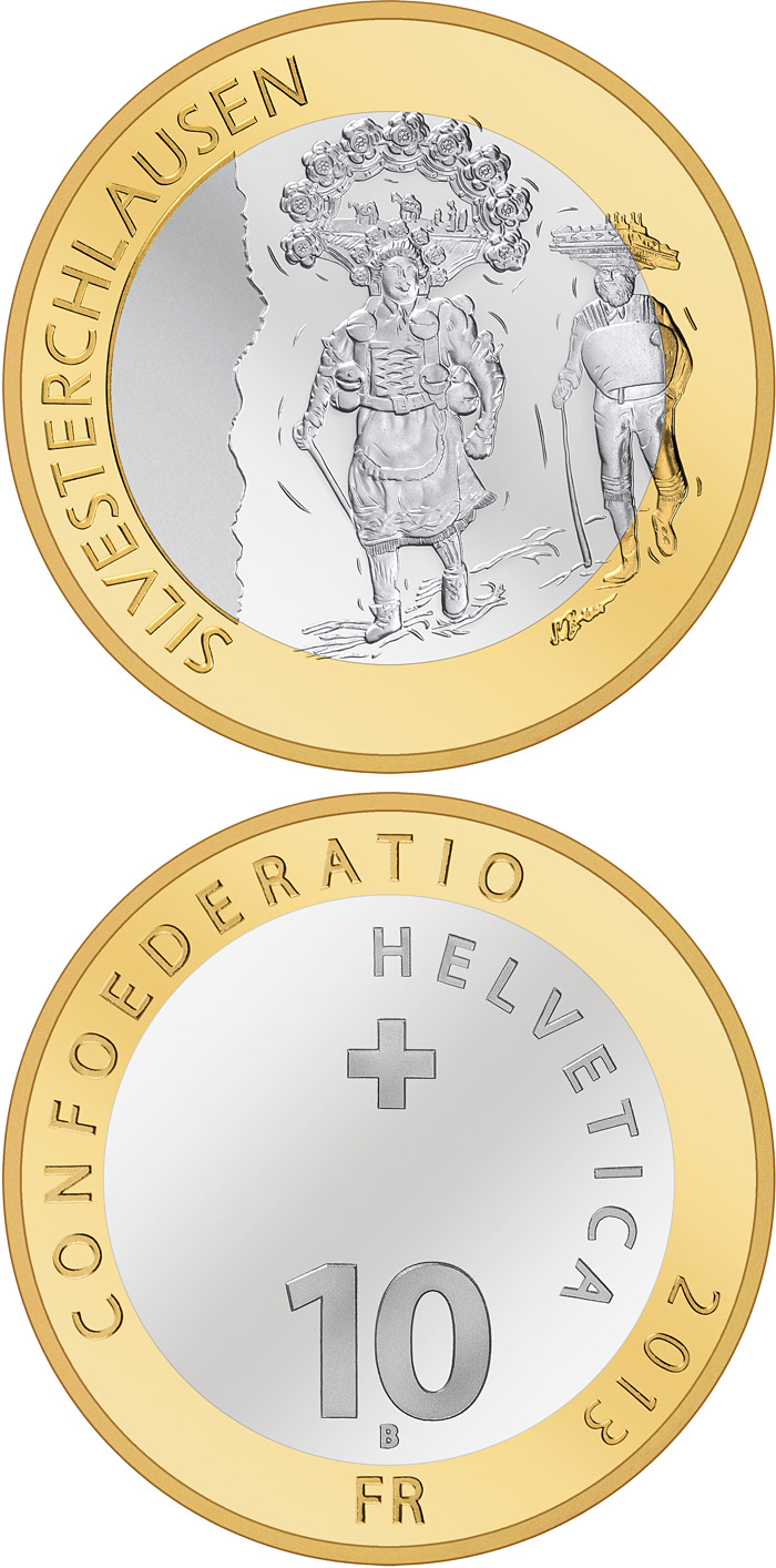 Image of 10 francs coin – Silvesterchlausen | Switzerland 2013.  The Bimetal: CuNi, nordic gold coin is of Proof, BU quality.