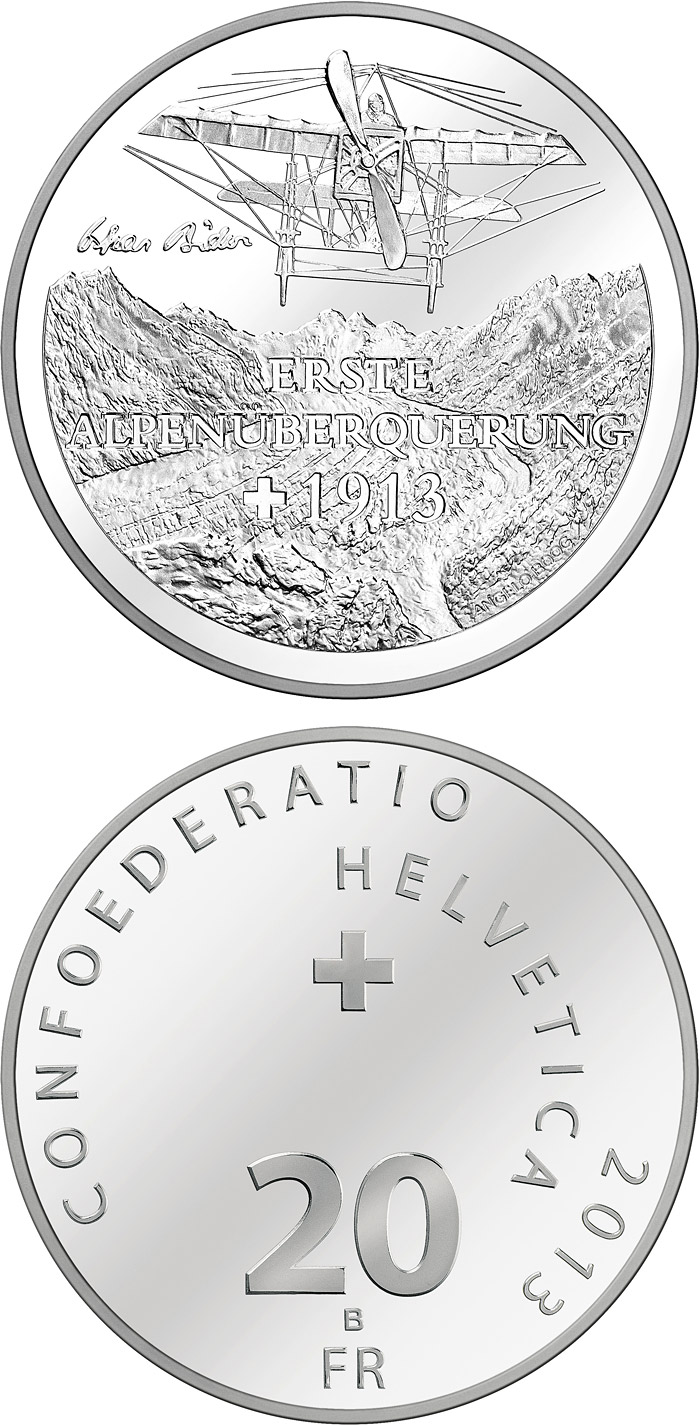Image of 20 francs coin - First transalpine flight 1913 | Switzerland 2013.  The Silver coin is of Proof, BU quality.