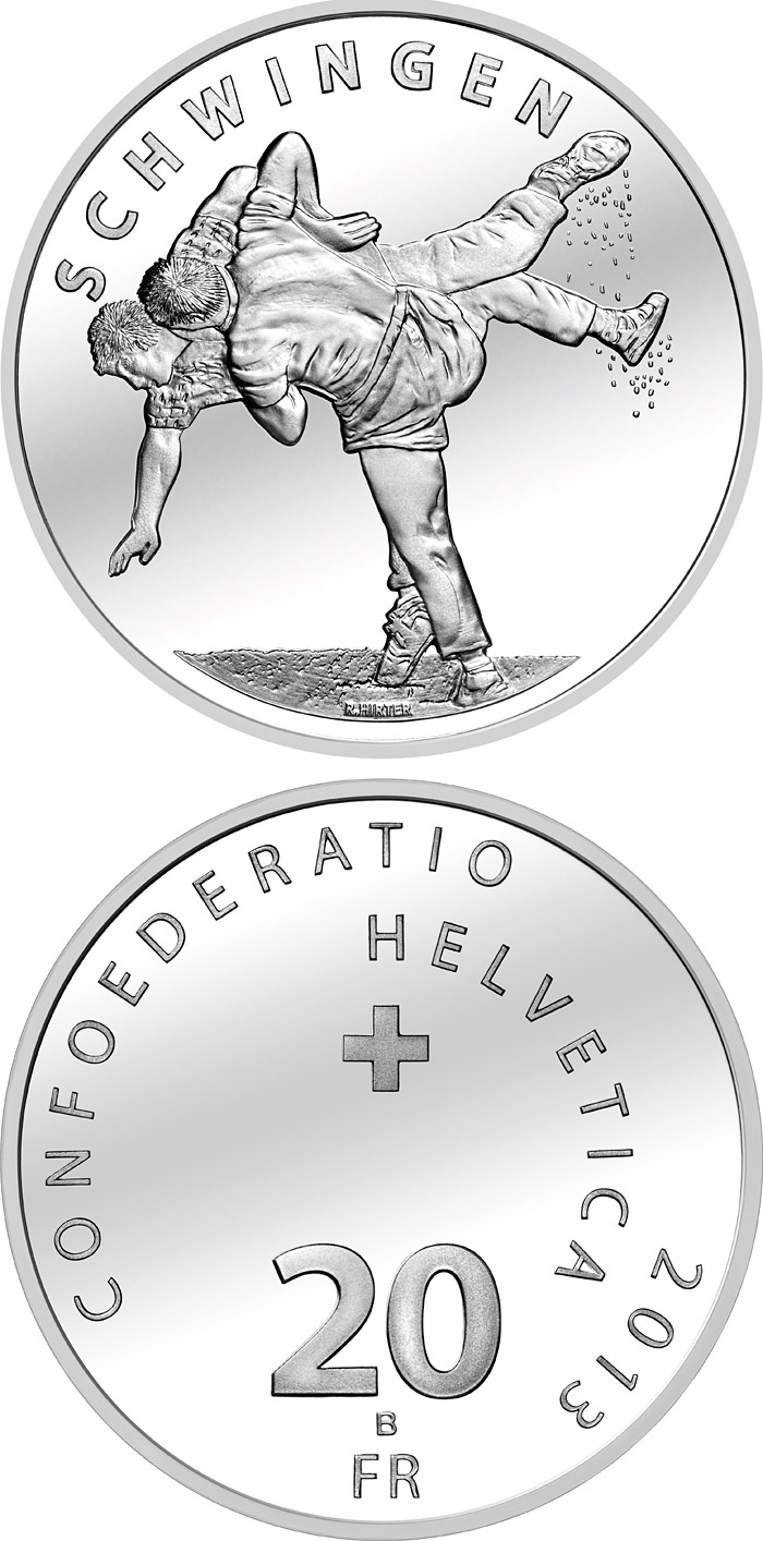 Image of 20 francs coin – Swiss wrestling | Switzerland 2013.  The Gold coin is of Proof, UNC quality.