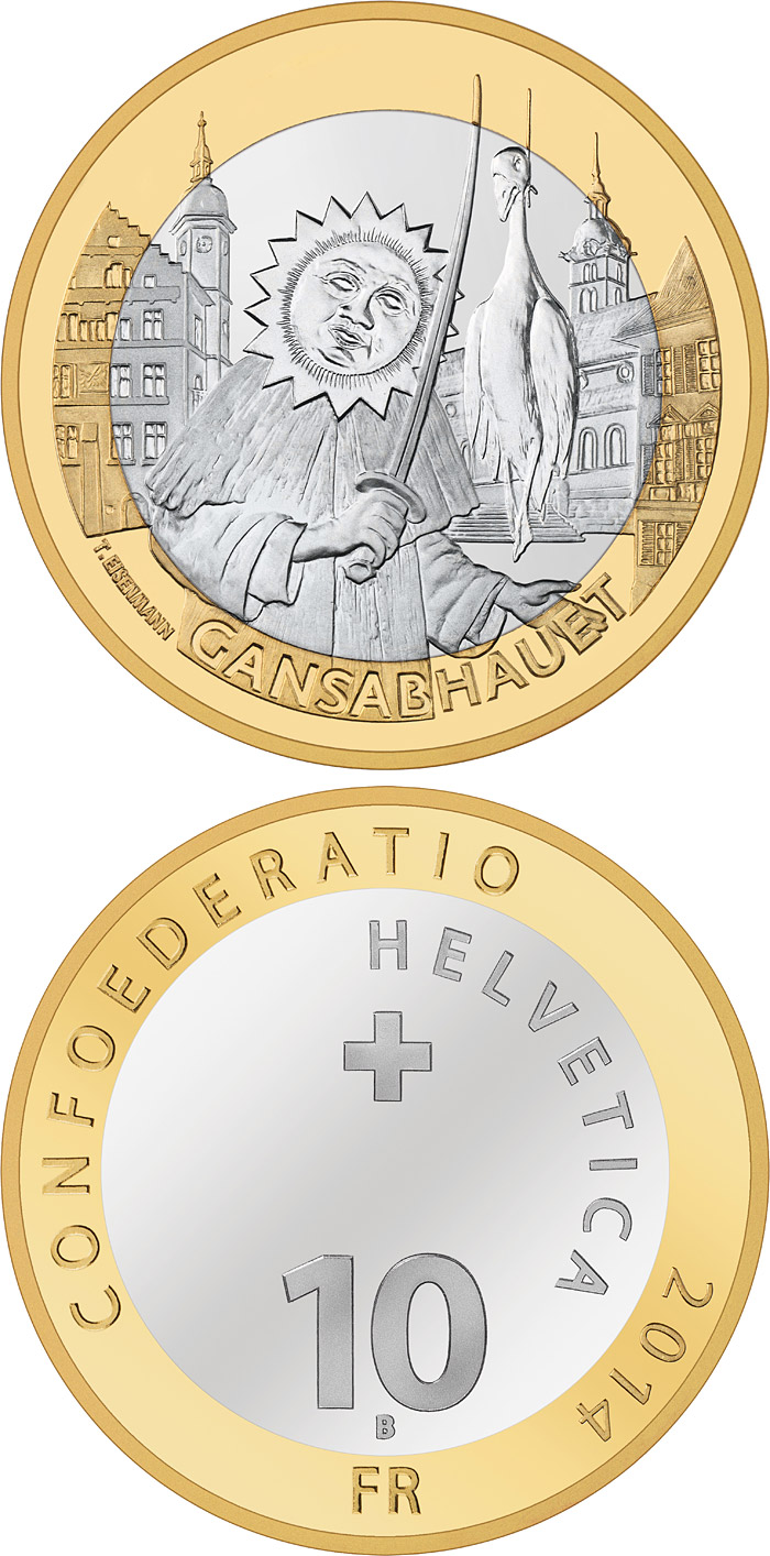 Image of 10 francs coin - Gansabhauet Sursee | Switzerland 2014.  The Bimetal: CuNi, nordic gold coin is of Proof, BU quality.