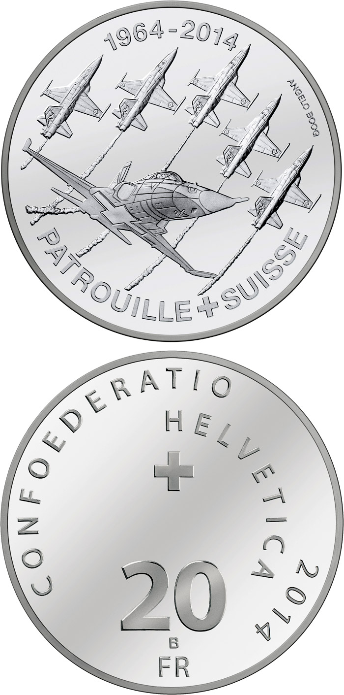 Image of 50 years of Patrouille Suisse – 20 franc coin Switzerland 2014.  The Silver coin is of Proof, BU quality.