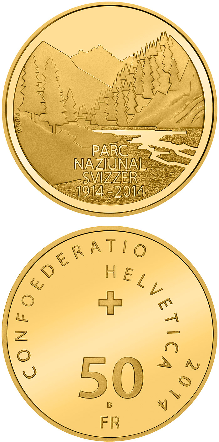 Image of 50 franc coin 100 years of the Swiss National Park | Switzerland 2014