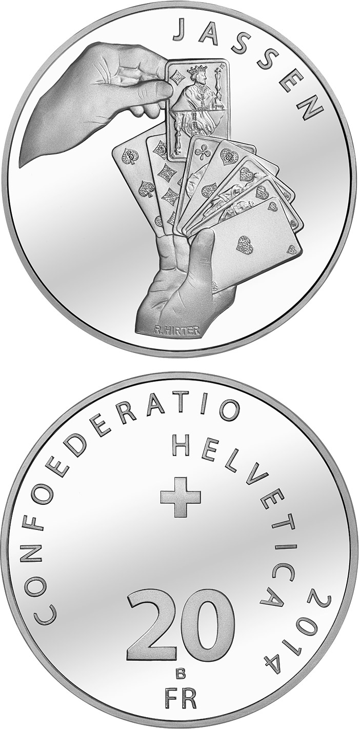 Image of 20 francs coin - National sports: The Jass Card Game | Switzerland 2014.  The Silver coin is of Proof, BU quality.