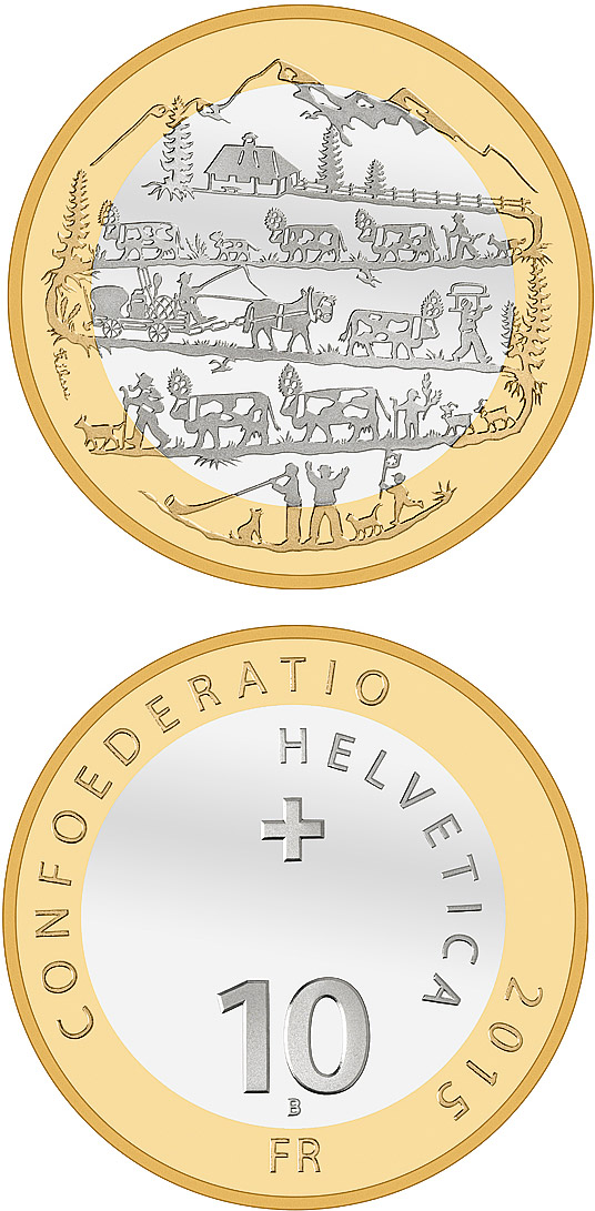 Image of 10 francs coin – Descent from the Alpine pastures | Switzerland 2015.  The Bimetal: CuNi, nordic gold coin is of Proof, BU quality.