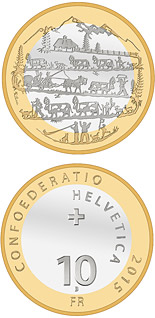 10 franc coin Descent from the Alpine pastures | Switzerland 2015