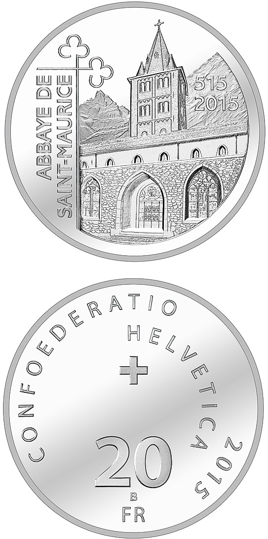 Image of 1500 Years St. Maurice's Abbey  – 20 franc coin Switzerland 2015.  The Silver coin is of Proof, BU quality.