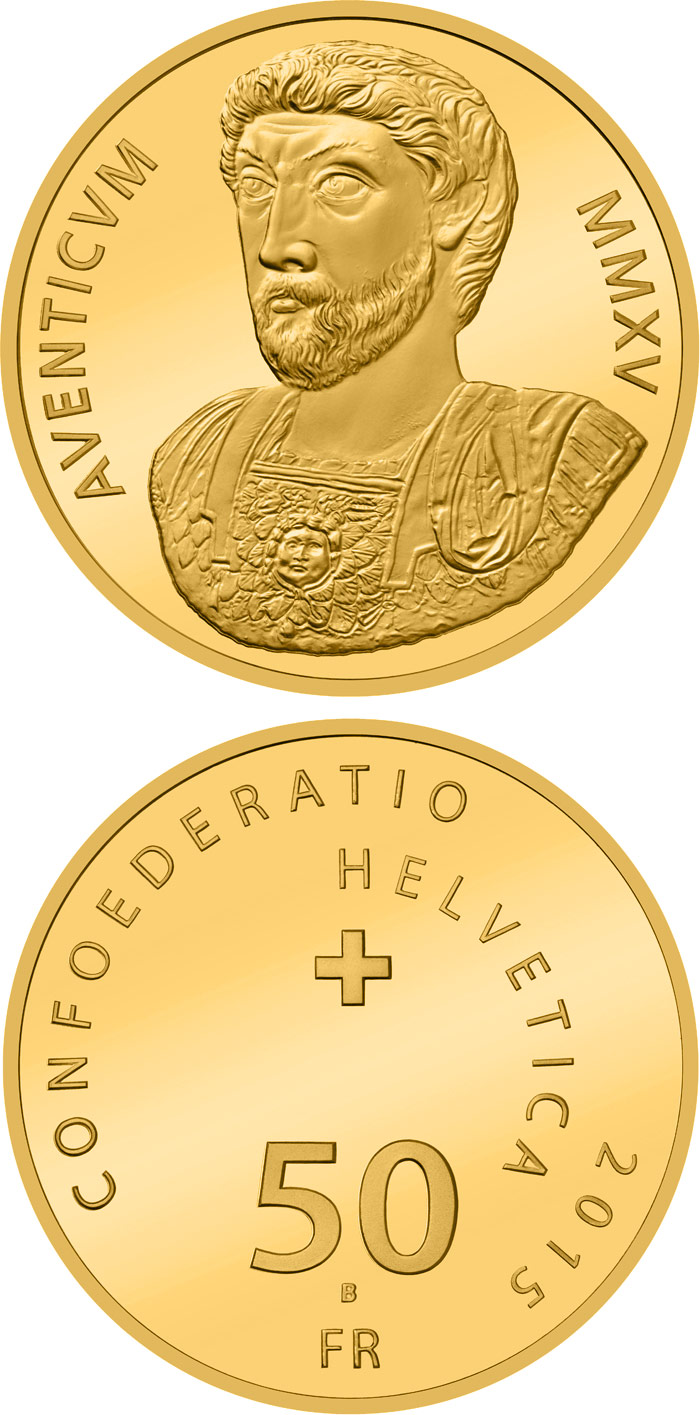 Image of 50 francs coin - 2000 years of Aventicum | Switzerland 2015