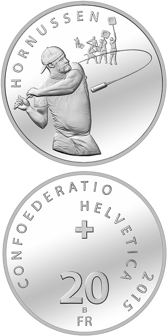 Image of 20 franc coin Hornussen | Switzerland 2015.  The Silver coin is of Proof, BU quality.