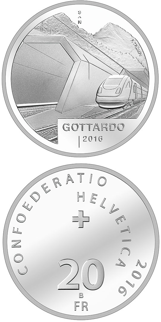 Image of 20 franc coin Gottardo | Switzerland 2016.  The Silver coin is of Proof, BU quality.