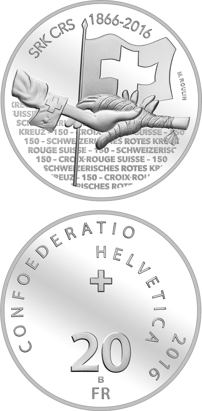 20 francs 150th Anniversary of the Swiss Red Cross - 2016 - Series: Silver 20 francs coins - Switzerland