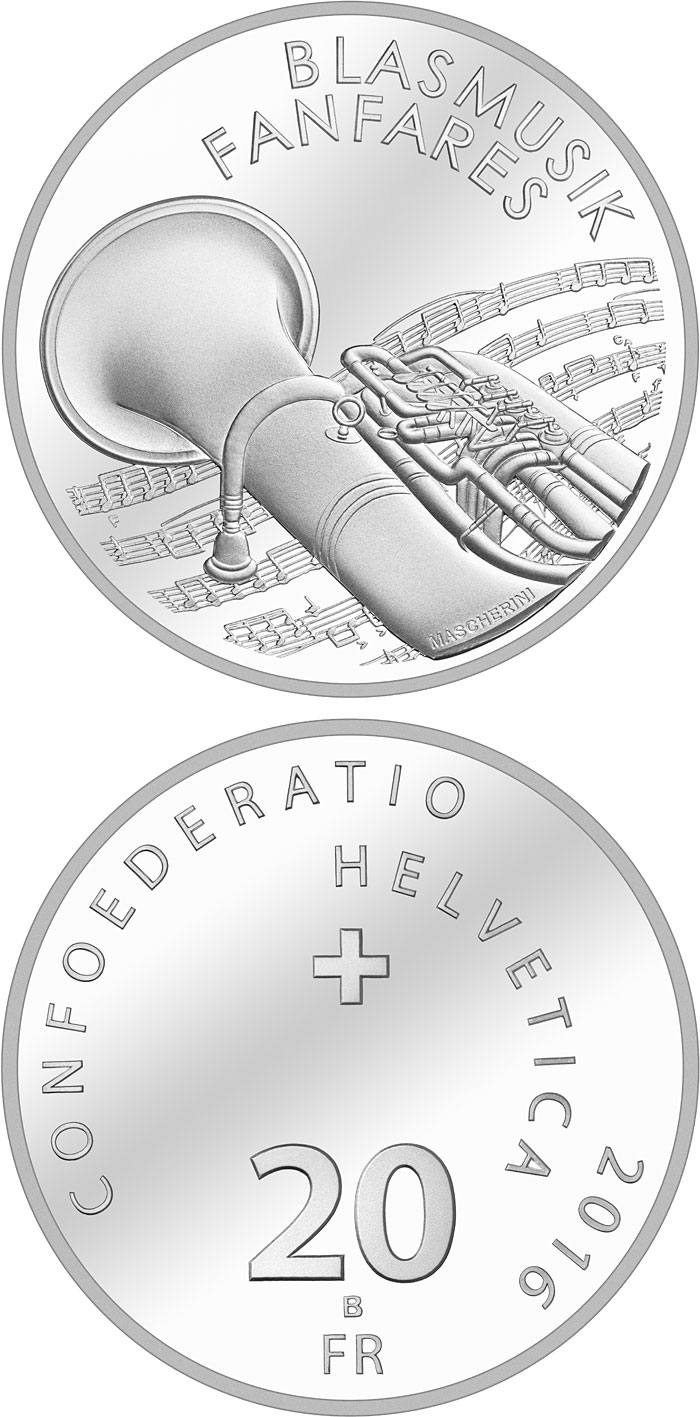 Image of 20 francs coin - Brass bands | Switzerland 2016.  The Silver coin is of Proof, BU quality.