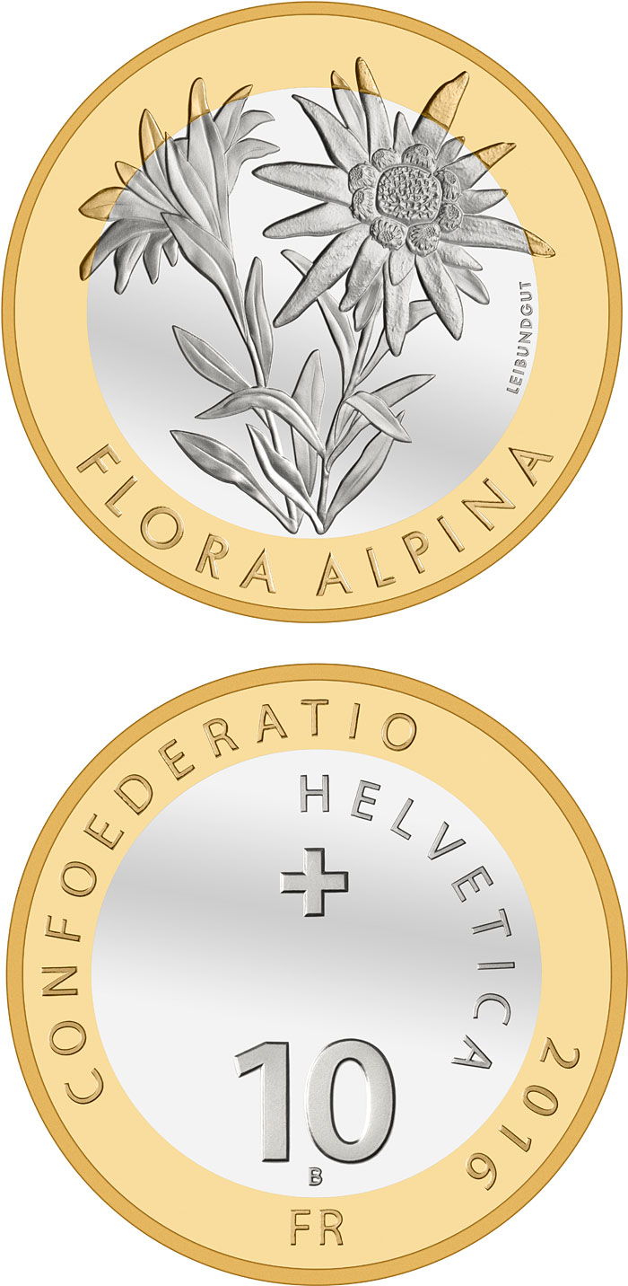 Image of 10 francs coin – Alpine Edelweiss | Switzerland 2016.  The Bimetal: CuNi, nordic gold coin is of Proof, BU quality.