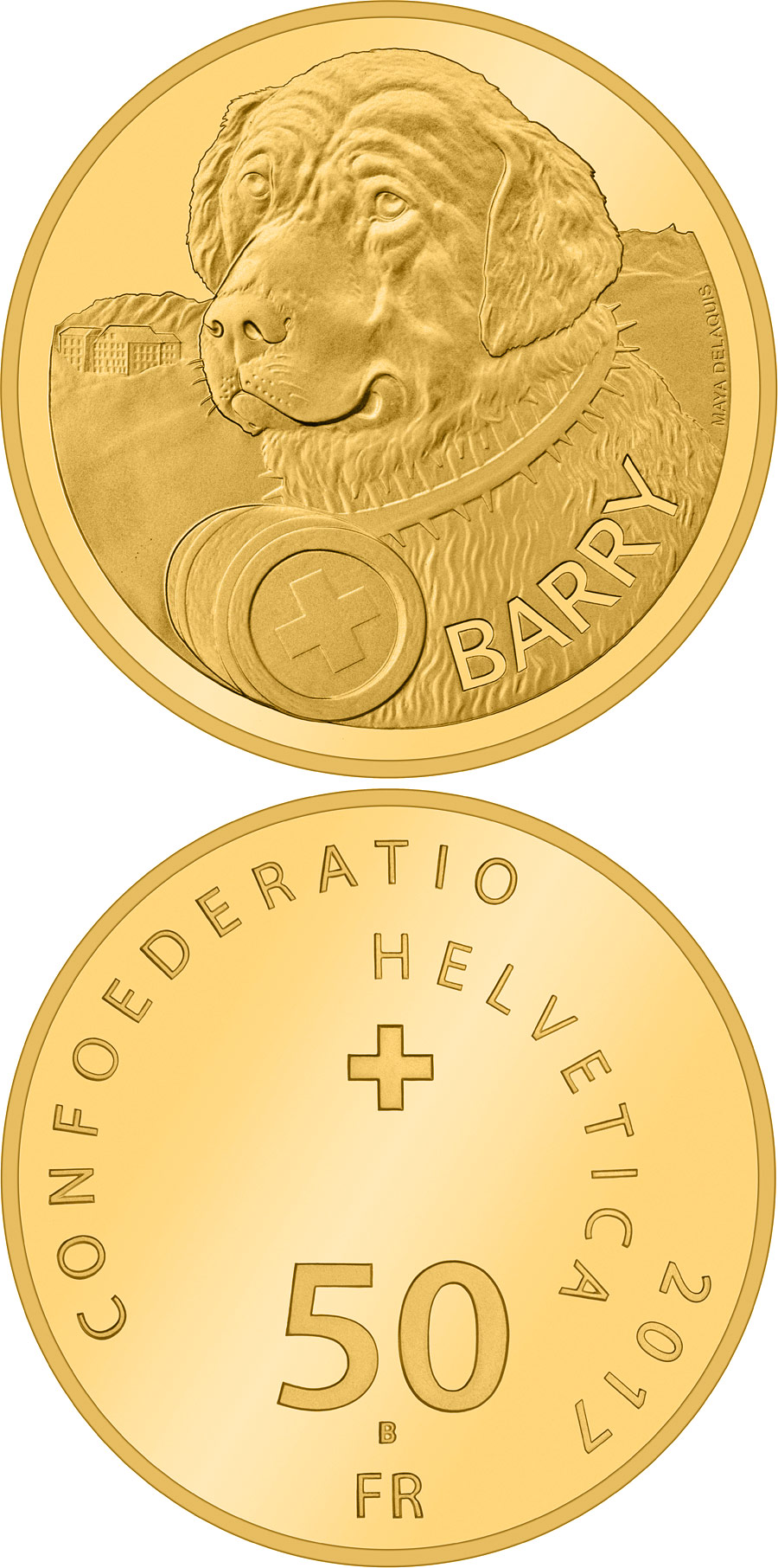 Image of 50 francs coin - Barry | Switzerland 2017.  The Gold coin is of Proof quality.