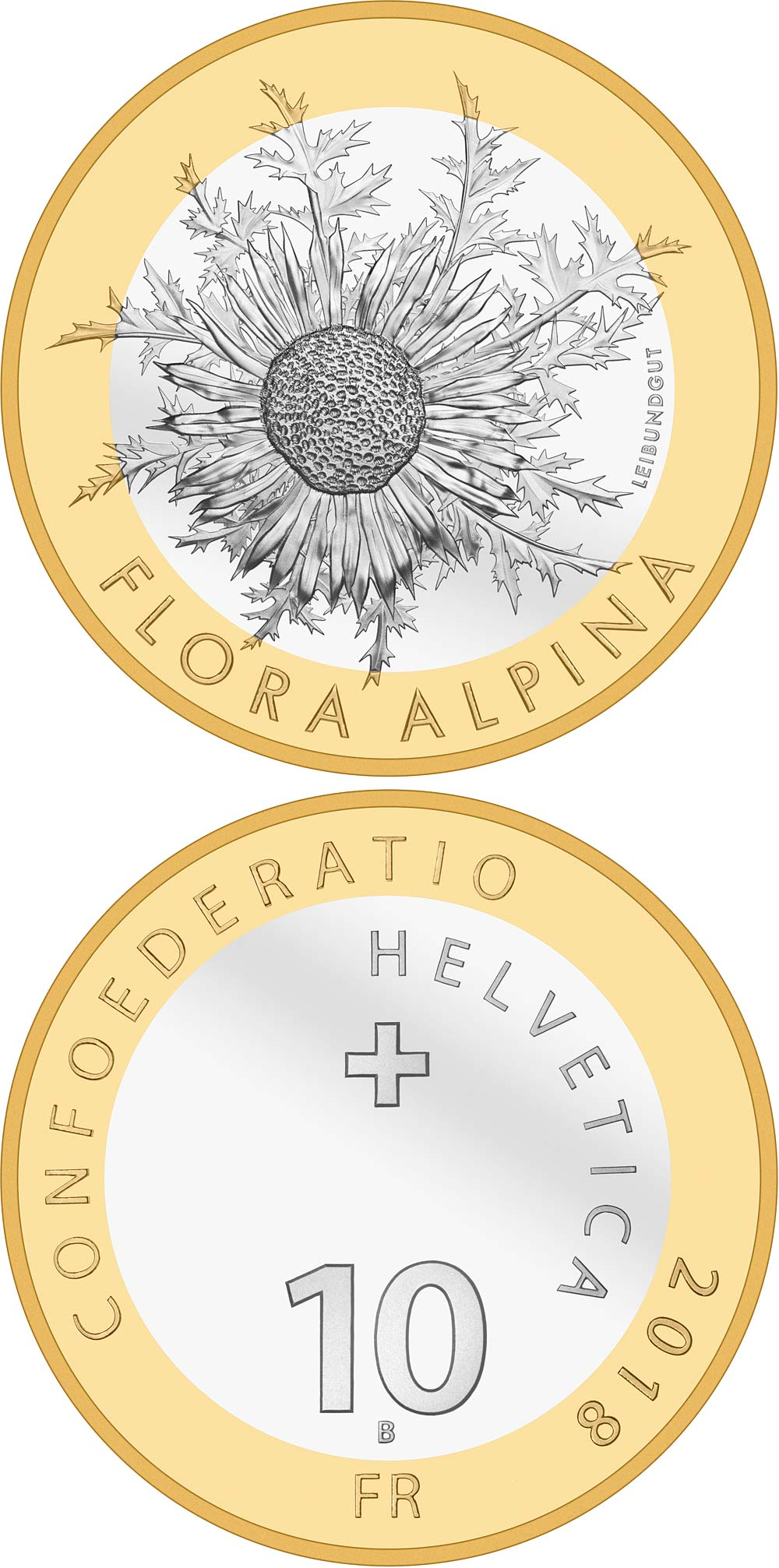 Image of 10 francs coin - Carline thistle | Switzerland 2018.  The Bimetal: CuNi, nordic gold coin is of Proof, BU quality.