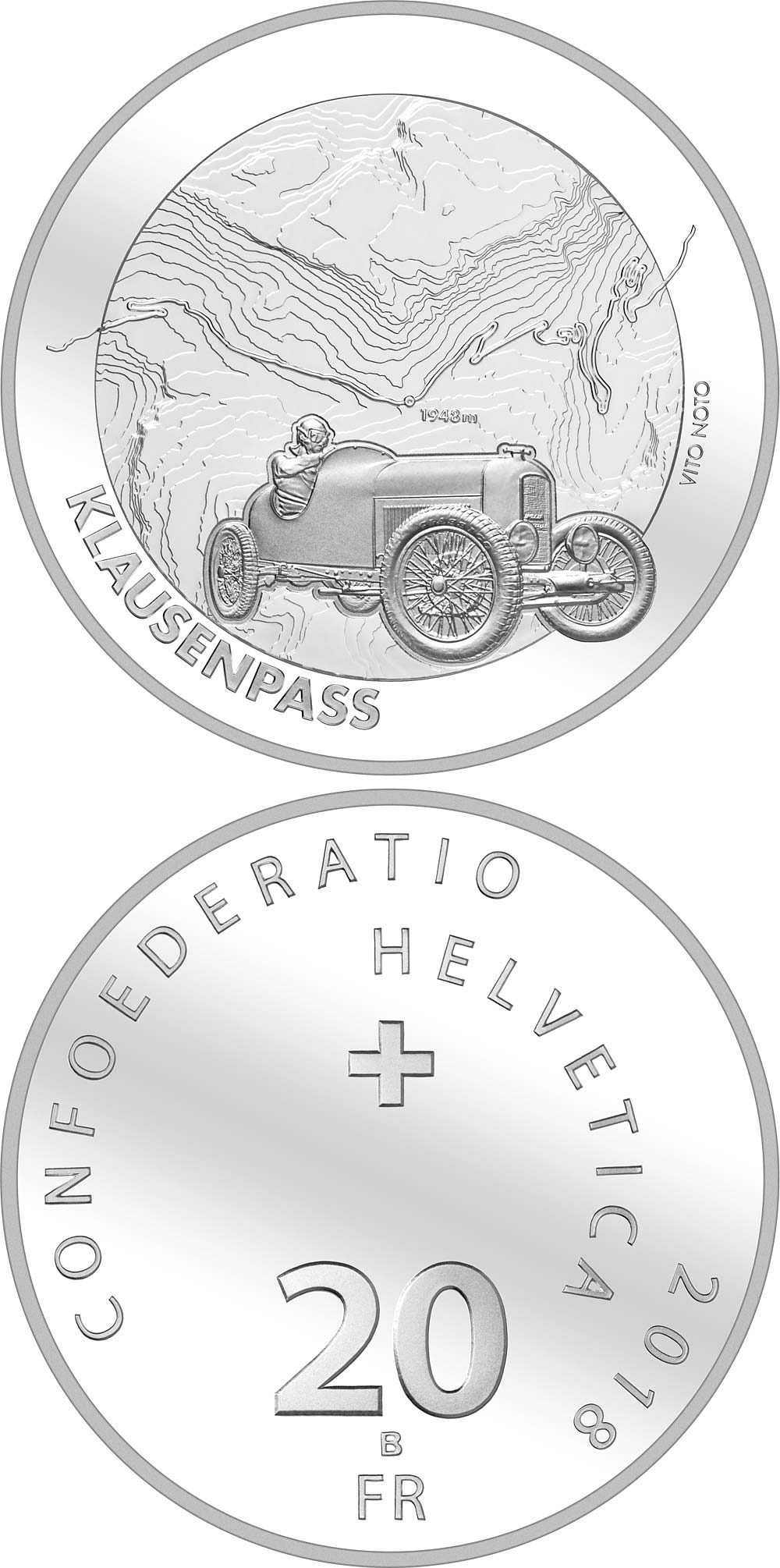 Image of 20 francs coin - Klausen Pass | Switzerland 2017.  The Silver coin is of Proof, BU quality.