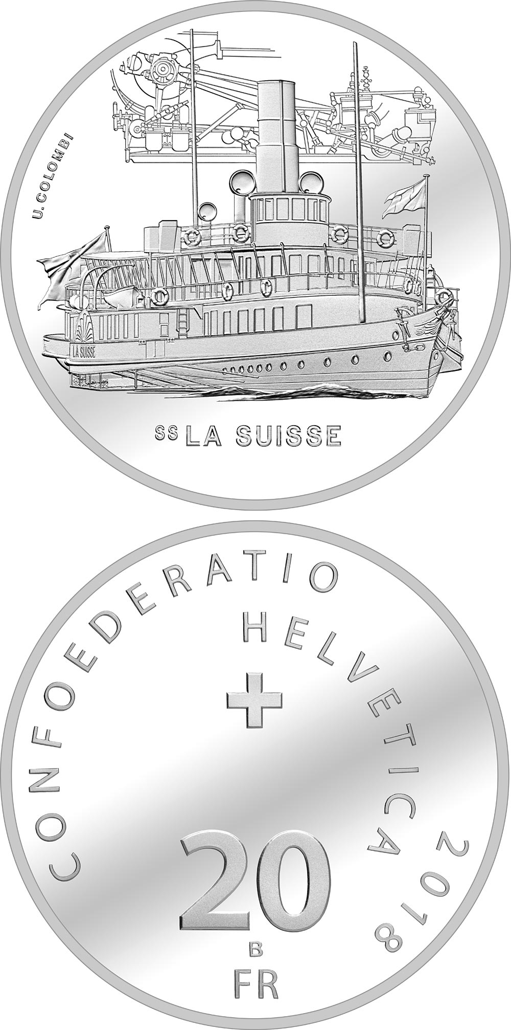 Image of 20 francs coin – La Suisse | Switzerland 2018.  The Silver coin is of Proof, BU quality.