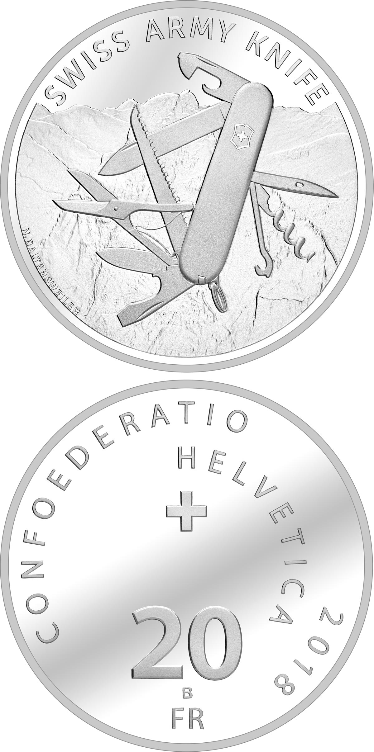 Image of 20 francs coin - Swiss Army Knife | Switzerland 2018.  The Silver coin is of Proof, BU quality.