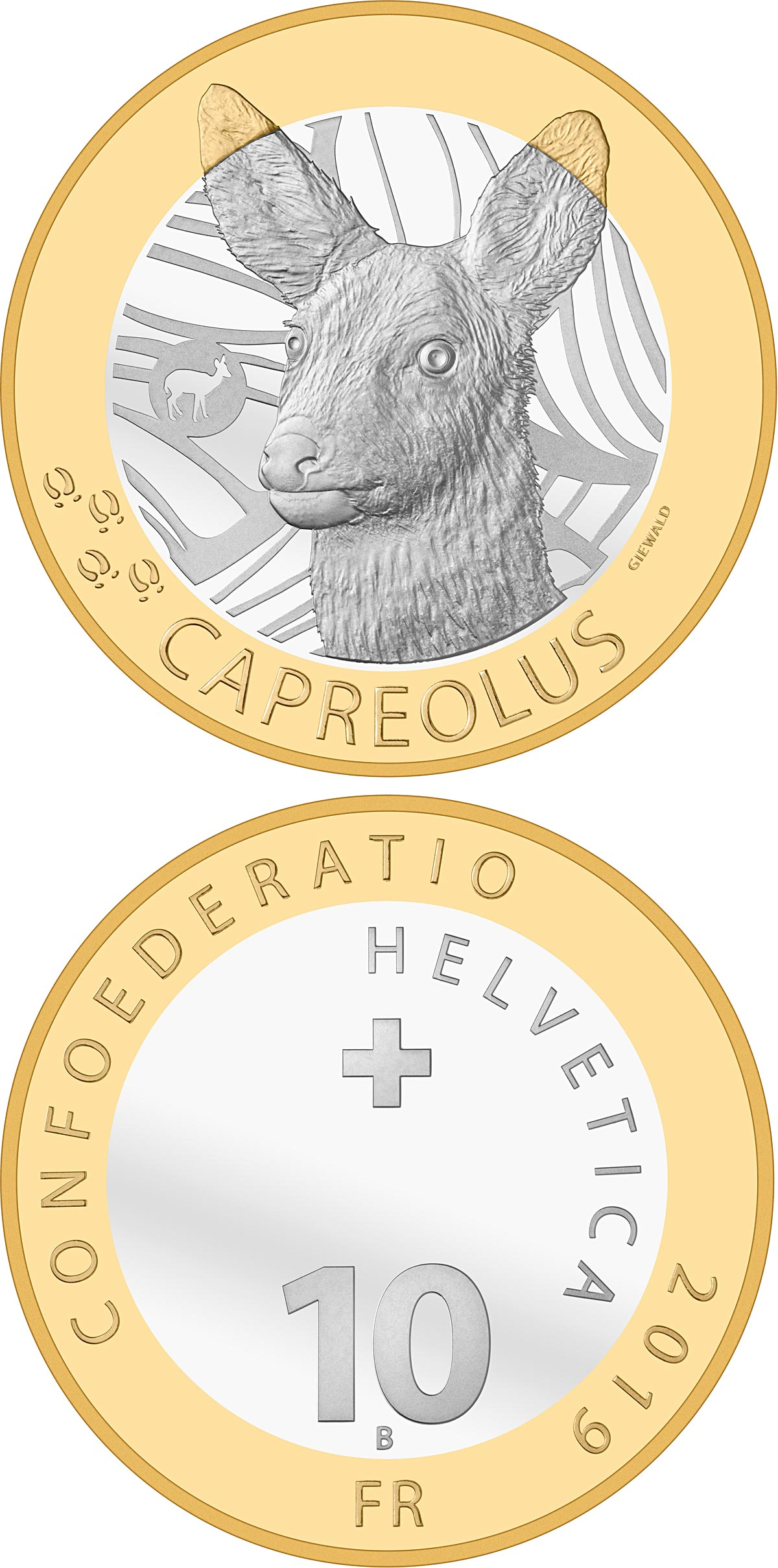 Image of 10 francs coin - Roe deer | Switzerland 2019.  The Bimetal: CuNi, nordic gold coin is of Proof, BU quality.