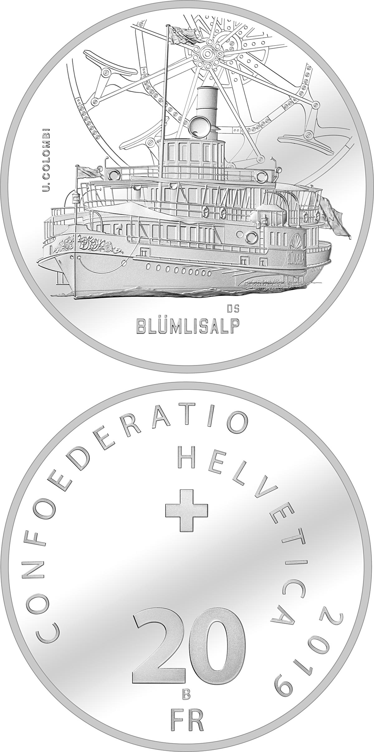 Image of 20 francs coin – Blümlisalp steamboat | Switzerland 2019.  The Silver coin is of Proof, BU quality.