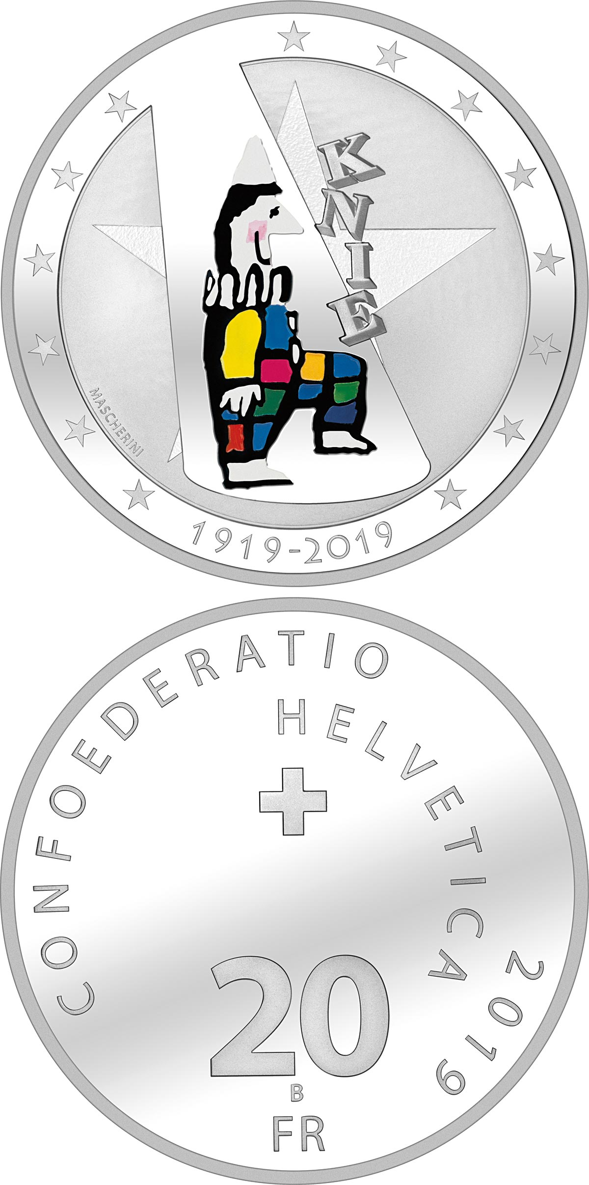 Image of 20 francs coin - 100 years of Circus Knie | Switzerland 2019.  The Silver coin is of Proof, BU quality.