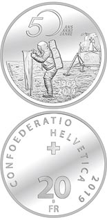 20 franc coin 50th anniversary of Apollo 11 moon landing | Switzerland 2019