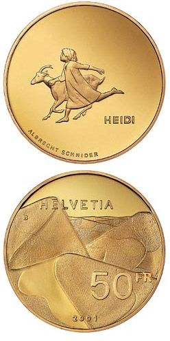 Image of a coin 50 francs | Switzerland | Heidi  | 2001