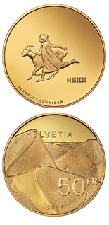 50 francs Heidi  - 2001 - Series: Gold franc coins - Switzerland