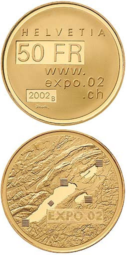 Image of 50 francs coin - Expo.02  | Switzerland 2002