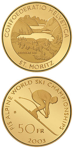 Image of The Alpine World Ski Championships – 50 franc coin Switzerland 2003