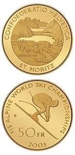 50 francs The Alpine World Ski Championships - 2003 - Series: Gold franc coins - Switzerland