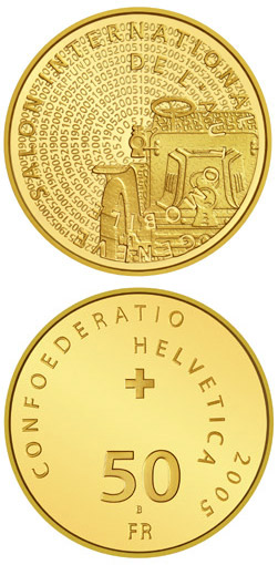 Image of 100th anniversary of the Geneva Motor Show Gold – 50 franc coin Switzerland 2005